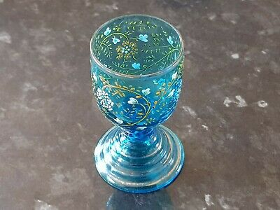 Beautiful Small Antique Pale Blue Glass Goblet. Painted & Gilt Floral Decoration • 7£