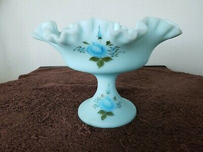 Fenton Blue Custard Satin Ruffled Candy Dish Pedestal Hand Painted Signed • 20.62£