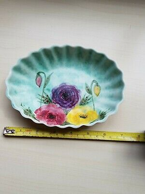 Retro Edward Radford Oval Dish With Hand Painted Floral Decoration. • 3£