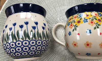 Polish Pottery Gents Mugs X 2 Tulips And Floral 330ml  9.5cm H X 9cm D • 7.50£