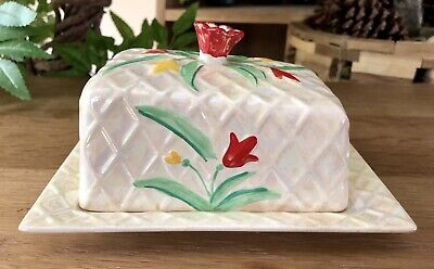 Wade Lattice Lustre Ware Butter Dish Cover Tray Red Yellow Flower Hand Painted • 6.99£