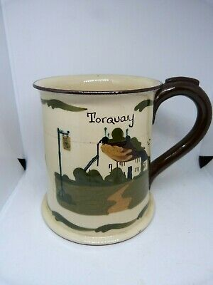 VINTAGE TORQUAYWARE MOTTO TANKARD Marked TORQUAY & 'FIRST TODAY' - 'LIAR' Inside • 1.99£