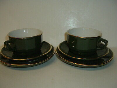 Pair Of Apilco Green & Gold Cups Saucers And Side Plates • 4.99£