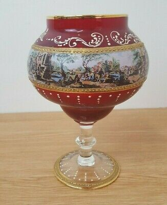 Vintage Red Gold Bohemian Glass Pedestal Bowl Hand Painted  • 9.99£