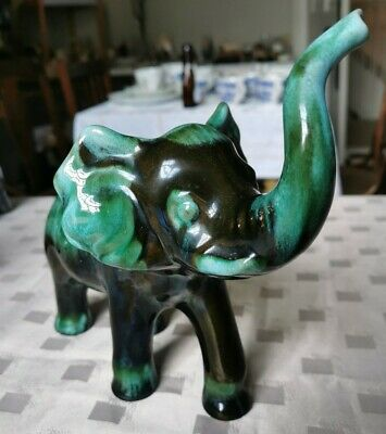 Large, Blue Mountain, Drip Glaze Elephant, Green And Brown. • 15£