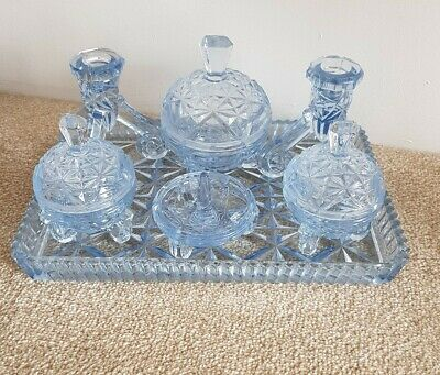 Art Deco Style Glass Dressing Table Set Vintage Candlesticks 6 Pieces • 24£