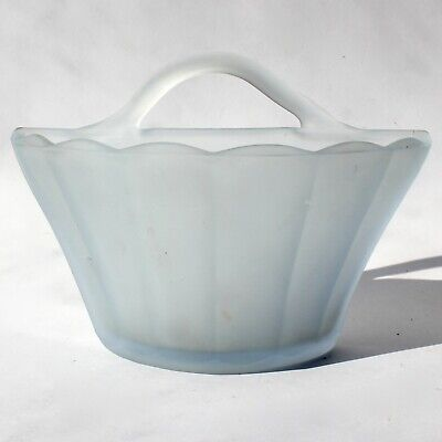 Art Deco Bagley Blue Frosted Glass Wall Pocket Vase H12.5cm X W17.5cm 1920/30s • 12£