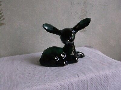 Vintage Blue Mountain Pottery Green &black Fawn.animal Dear. • 2.50£