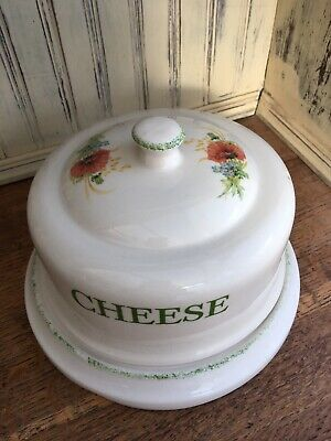 Beautiful Kernewek Pottery Poppy Design Cheese Dome And Plate • 20£