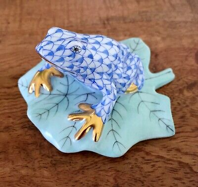Herend Blue Fishnet Frog On Lilypad, Excellent Condition • 65£