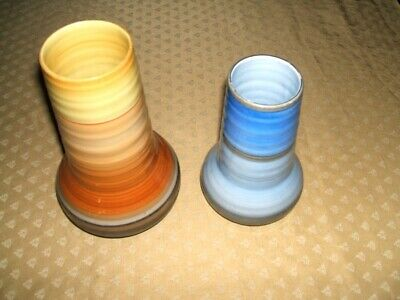 Vintage Pair Of Shelley Vases Two Different Sized, In Blue And Orange Colour. • 10£