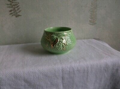 Vintage Emerald Gold  Wade England  Glazed Porcelain  Trinket Pot. • 0.99£