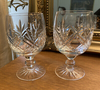 Thomas Webb Cut Crystal Large Wine Goblet Glasses X 2 • 9.21£