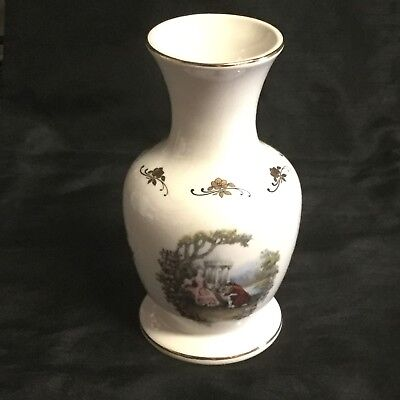Vintage 'lord Nelson Pottery' Handcrafted Vase With Romantic Scenes & Gold Trim! • 10£
