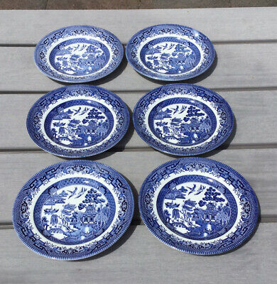 6 Vintage Churchill Blue And White Willow Pattern Side Plates • 9.99£