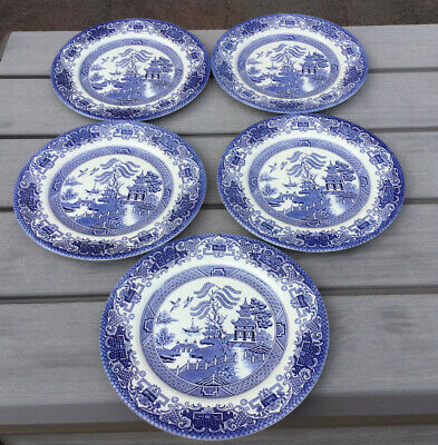 5 Vintage EIT Blue And White Willow Pattern Dinner Plates • 19.99£