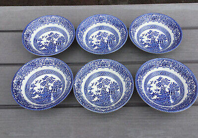 6 Vintage EIT English Ironstone Tableware Blue And White Willow Pattern Bowls • 15£