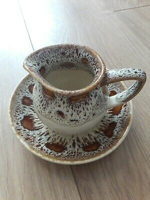 Fosters Pottery Milk Jug And Saucer Ceramic Brown Speckled Retro Vintage Kitchen • 6£