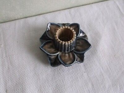 Vintage Wade England Glazed Porcelain  Blue&beige Flower Candle Holder.. • 0.99£