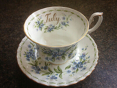 Royal Albert Flowers Of The Month Series - Forget-me-not - July Cup And Saucer • 10£