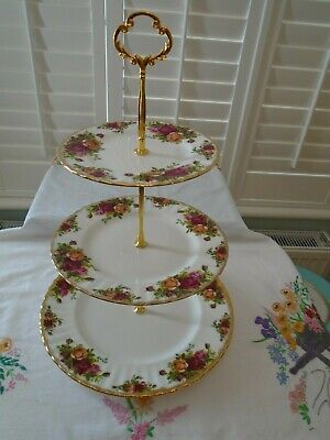 Vintage Royal Albert Old Country Roses  3 Tiered Teaset Cakestand For A Tea Pot • 19.99£