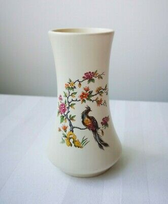 Axe Vale Pottery Devon Small Floral Peacock Vase - 11 Cm 4.5  Tale Kitsch Retro  • 4.99£
