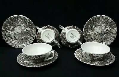 The Hunter By Myott Handled Soup Coupe Bowls With Underplates X4. Vintage Ware. • 9.95£