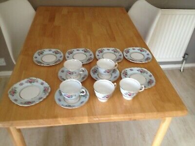Vintage Colclough Blue With Flowers Cups Saucers And Side Plates • 20£