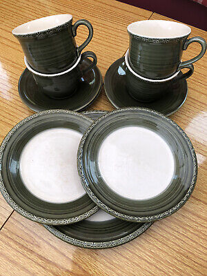 Bhs ~BRECON~ Tea Cups & Saucers X 4 And Three Plates • 9.99£
