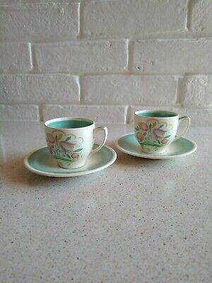 Susie Cooper Green Dresden Spray Coffee Cups And Saucers. • 30£