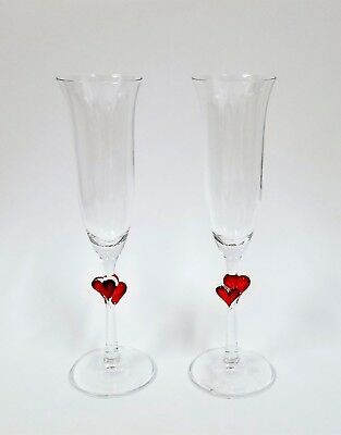 New Set Of 2 Clear With 3d Red Heart Champagne Flute Glasses,romantic • 26.10£