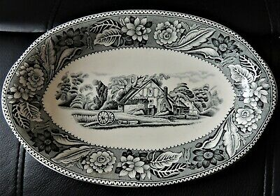 Vintage Wood & Sons  Woodland  Oval Side Dish Black And White Print • 5£