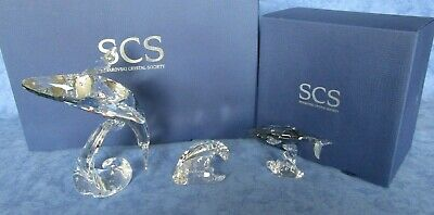 Swarovski Crystal 2012 SCS Annual Edition Paikea Whale Family - Adult + Young • 295£