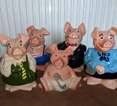 Immaculate, Original Set Of 5 Wade Nat West Pigs - Excellent Condition • 149.99£