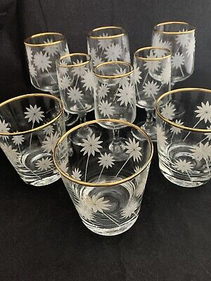 Collection Of 9 Pretty Vintage Drinking Glasses Daisy Design  • 15£