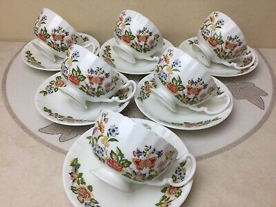 Aynsley Cottage Garden 6 X Footed Tea Cups & Saucers Superb Rare Shape • 74.99£