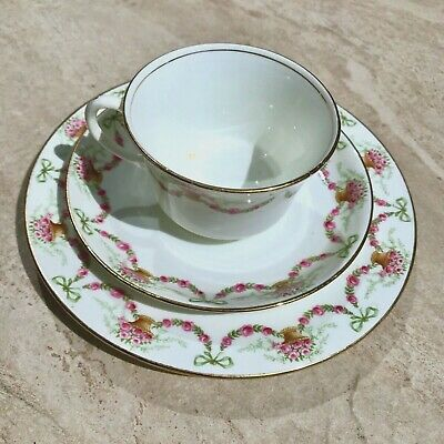 GORGEOUS ANTIQUE AYNSLEY TRIO TEA CUP SAUCER PLATE SWAGS PINK ROSES BOWS 1900's • 89£