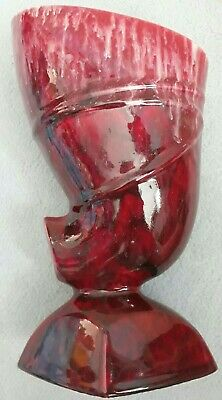 Studio Pottery Unusual Red Gloss Glaze Footed Vase  • 45£