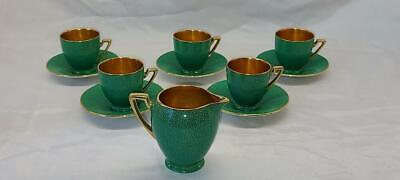 Wiltshaw & Robinson Carlton Ware  Art Deco Green Gold  Shagreen Part Coffee Set • 44.98£