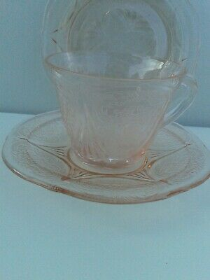 1 American Depression Glass Pink Royal Lace Trio Tea/cup/saucer/plate 12+ Avail  • 29£