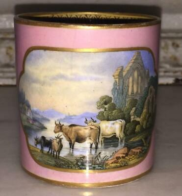 Lovely Antique Pink Prattware 'Cattle & Ruins' Coffee Can C 1840+ • 19.99£