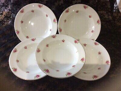 Maddock Royal Vitreous Vintage Soup/pudding Bowls With Pink Roses Design • 9.50£