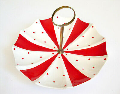 Vintage (Probably Midwinter) MID CENTURY Ceramic Retro Umbrella Cake Stand • 29.99£