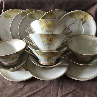 Set Of 8 Shelley Art Deco Eve Shaped Tulips Soup Bowls With Stands (saucer) • 50£