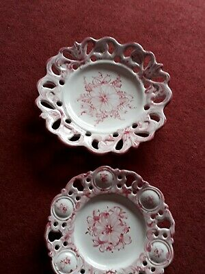 Vestal Pottery Portugal Majolica Pierced Handpainted Pink & White 3 Wall Plates • 6.99£