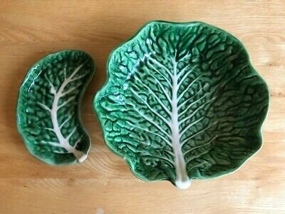 Secla Portugal Cabbage Leaf Serving Bowl And Kidney Shaped Dish • 10£