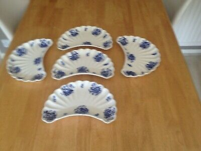 Spode 5 Moon Shape Flutted Blue And White Dishes • 46£