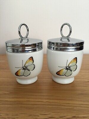 2 ROYAL WORCESTER SINGLE EGG CODDLER - Butterfly & Berry - SMALL 🦋 Porcelain • 22£
