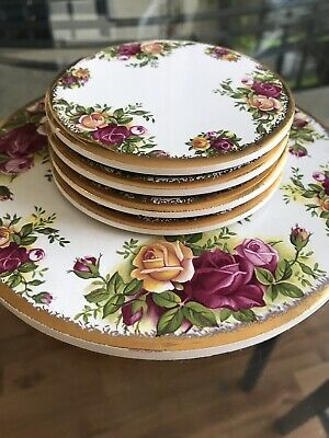 Royal Albert Old Country Roses Tea Pot Stand & 4 Coasters • 16£