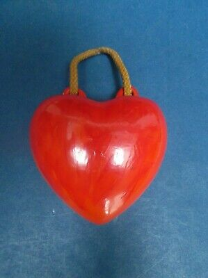 Orange Heart Shaped 30's Wall Pocket Marked UP44 2/0M Retouched Front In Red • 4£